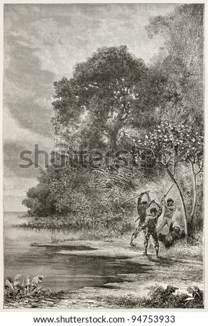 Men killing Three-toed sloth along Amazon river bank. Created by Riou and Sargent, published on Le Tour du Monde, Paris, 1867 - stock photo