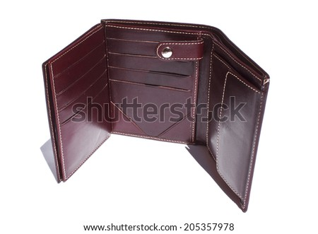 Men leather wallet on white background - stock photo
