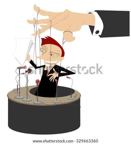 Men makes a report is controlled by cords like puppet - stock photo