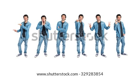 Men making a lot of gestures - stock photo