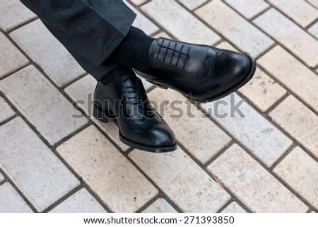 men mens shoes street city walk  - stock photo