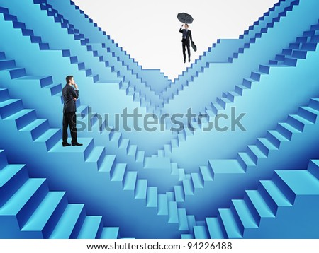 men on 3d stair business background - stock photo