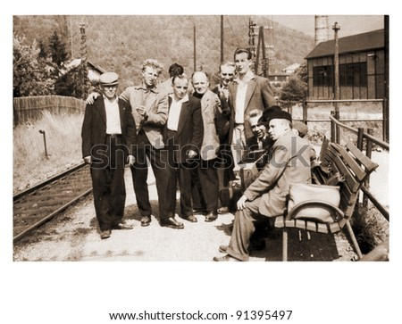 men on the railway station - photo scan - about 1950