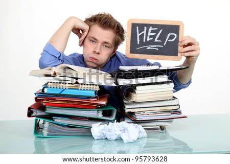 Men overwhelmed - stock photo