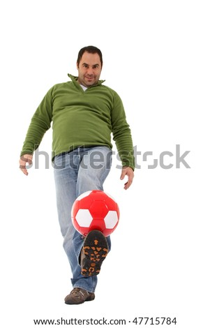 men playing with a ball - stock photo