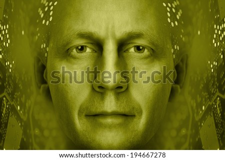Men portrait on a electronic circuit board background. Toned gold. - stock photo