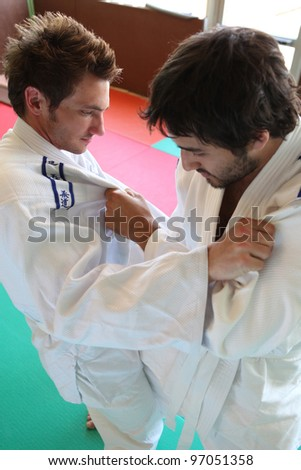 Men practicing judo - stock photo