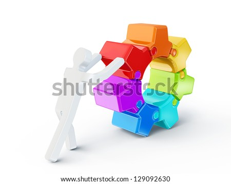men push gear on a white background - stock photo