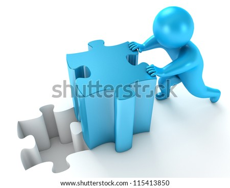 Men pushing puzzle piece. Isolated on white background. 3d render - stock photo