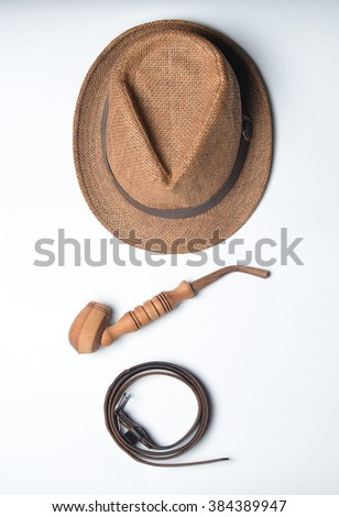 Men's accessories on a white background