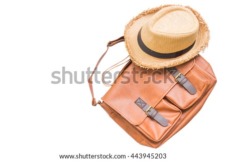 Men's accessories with brown leather bag and brown hat, flat lay, top view isolated on white background