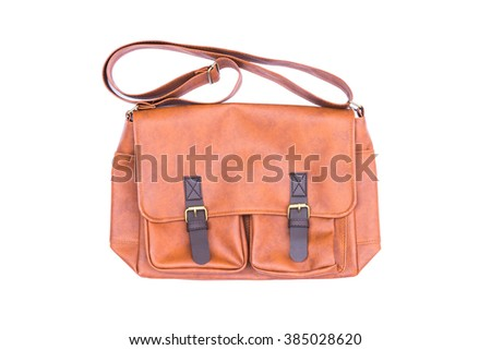 Men's accessories with brown leather bags on white background - stock photo