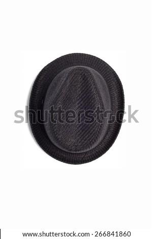 Men'??s Black fedora hat isolated on white background - stock photo
