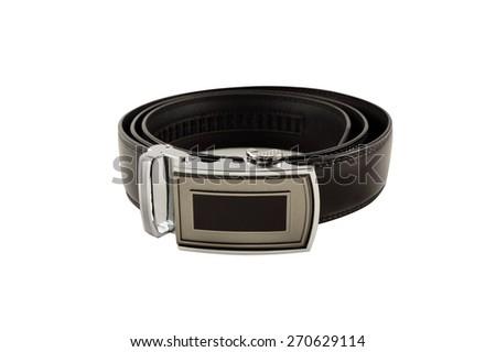 Men's black leather belt isolated on white background - stock photo