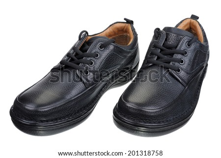 Men's black leather shoes with laces, isolated on a white background. - stock photo