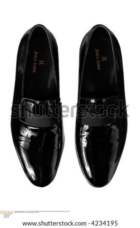 men's black loafers - stock photo