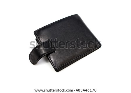 Men's black wallet money in cash isolated on white background