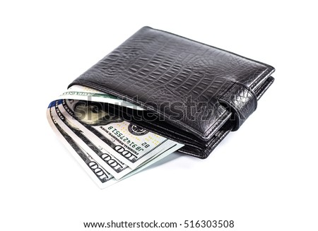 men's black wallet money in cash white background