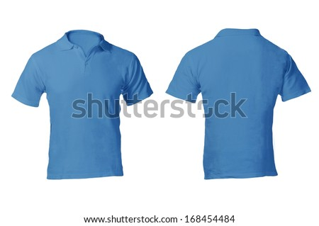 Men's Blank Blue Polo Shirt, Front and Back Design Template - stock photo