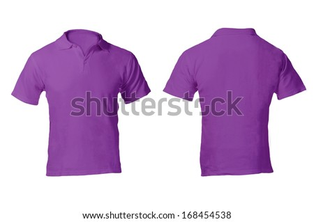 Men's Blank Purple Polo Shirt, Front and Back Design Template - stock photo