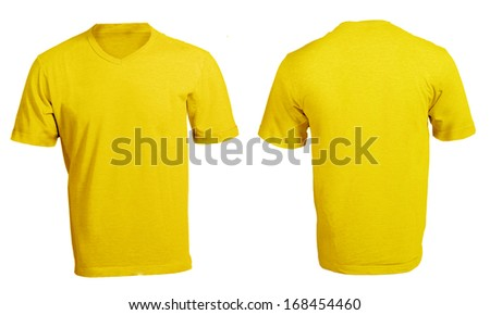 Men's Blank Yellow V-Neck Shirt, Front and Back Design Template - stock photo