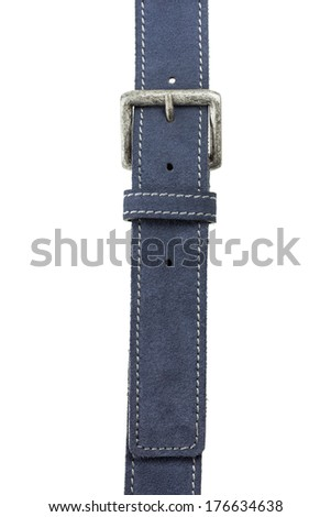 Men's Blue Suede Leather Belt