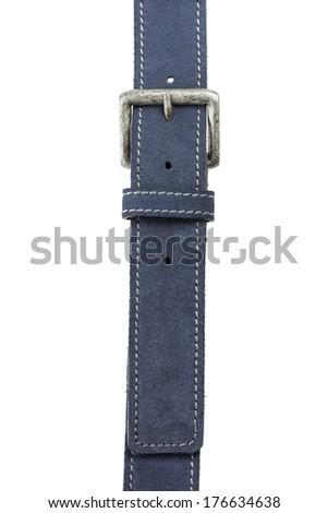 Men's Blue Suede Leather Belt - stock photo