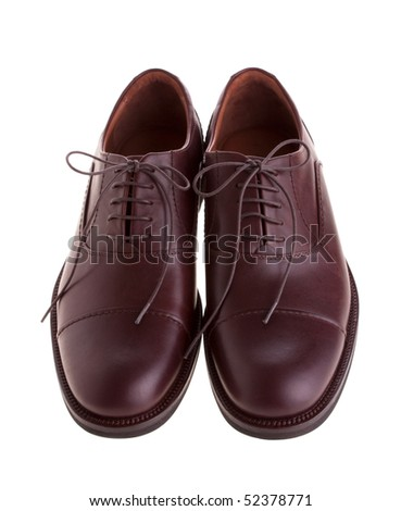 Men's brown shoes isolated on white - stock photo