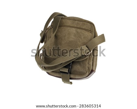 Men's Canvas Shoulder Bag isolated on white background - stock photo
