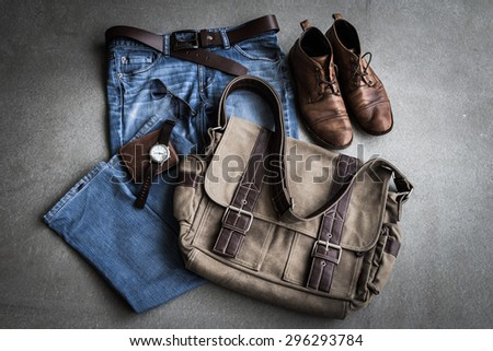 Men's casual outfits on gray background