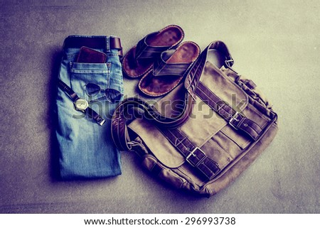 Men's casual outfits on grunge background