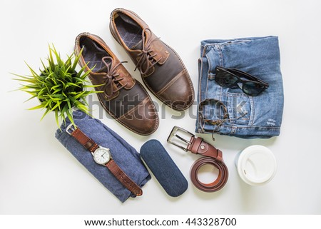 Men's casual outfits with brown leather shoes and accessories, flat lay, top view background.