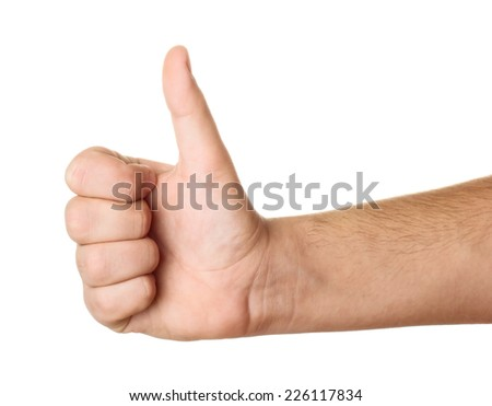 Men's hand make thumbs up isolated on white background - stock photo