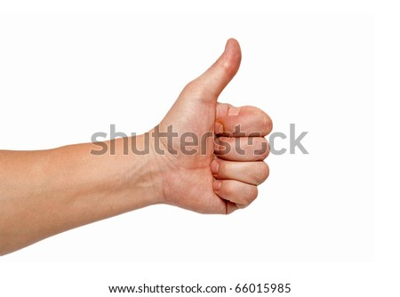men's hand make thumbs up isolated over white