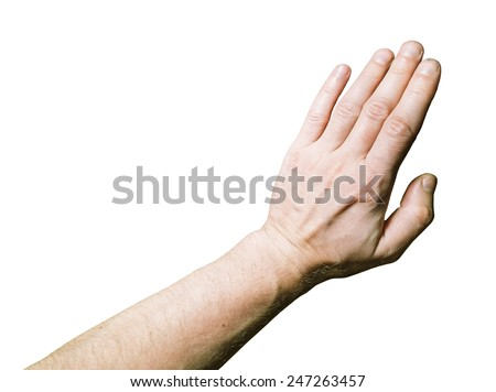 Men's hand Palm down on a white background