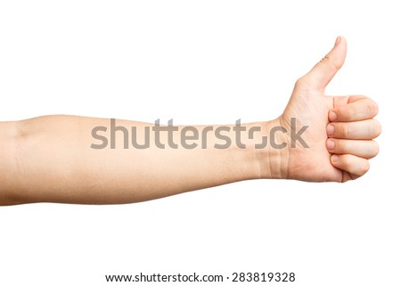 Men's hand showing a thumb up gesture. Isolated on white background. Like. Alpha. - stock photo