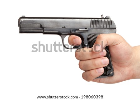 Men's hand with a gun isolated on white