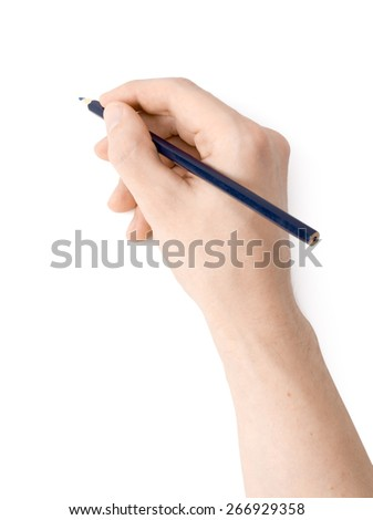 Men's hand with a pencil on a white background