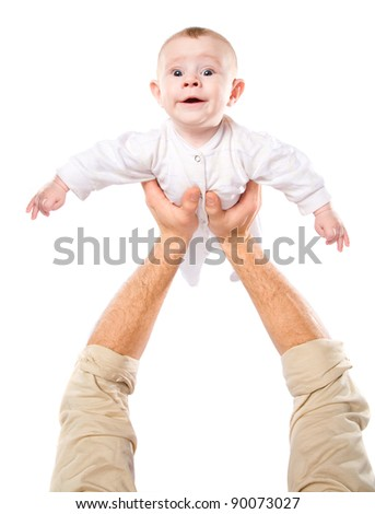 Men's hands hold the baby on a white background - stock photo