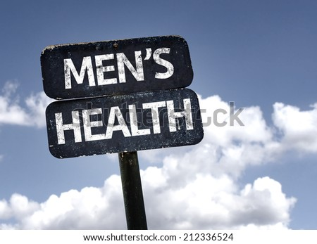 Men's Health sign with clouds and sky background  - stock photo