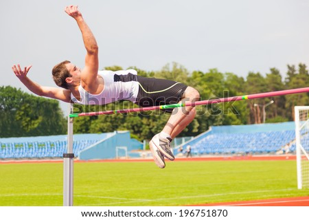 men's high jump, sports background - stock photo
