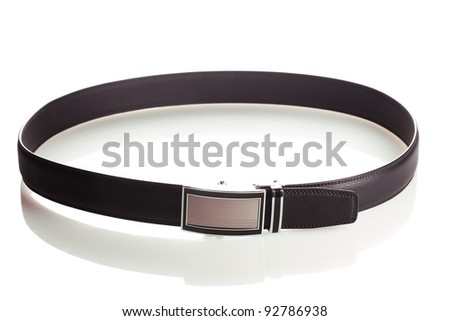 men's leather belt isolated on white