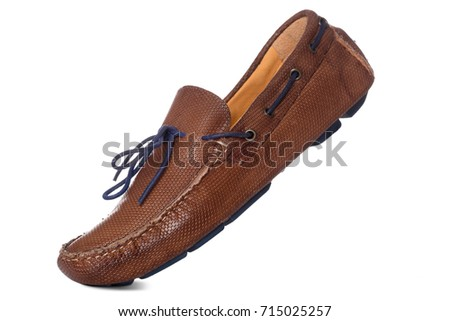 Men's Leather boat fashion shoes with side view profile, Isolated on white background, Men Fashion  Concept.