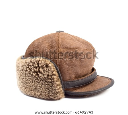 men's leather cap with a white background - stock photo