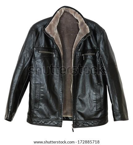 Men's leather jacket with fur sheepskin on white background - stock photo