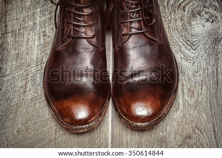 men's leather shoes of high quality, top view close-up - stock photo