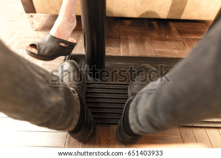 Mens Legs Under Table Restaurant Stock Photo Image RoyaltyFree