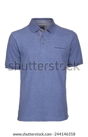 Men's light blue Polo Shirt isolated - stock photo