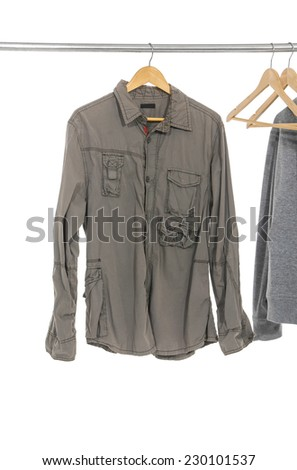 Men's long shirts with wood hanger on hanger