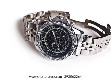Men's mechanical watches. Closeup, isolated on a white background. - stock photo